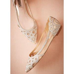 Badgley Mischka Gigi Ivory Crystal Pointy Toe Flat